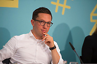 DEU, Deutschland, Germany, Berlin, 10.10.2018: Falko Mohrs (MdB, SPD) bei der Digitalen Jugendpressekonferenz der Vodafone Stiftung Deutschland.