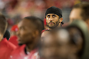 San Francisco 49ers quarterback Colin Kaepernick (7) watches a game against the Los Angeles Rams from the sideline at Levi's Stadium in Santa Clara, Calif., on September 12, 2016. (Stan Olszewski/Special to S.F. Examiner)