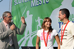 Swimmer Sara Isakovic with silver olympic medal and Shooter Rajmond Debevec with bronze medal at welcome ceremony in Olympic City BTC, on August 20, 2008, in Alea Mladih, BTC, Ljubljana, Slovenia. (Photo by Vid Ponikvar / Sportal Images)./ Sportida)