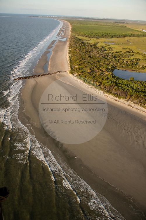 Aerial view of Morris Island in Charleston, SC