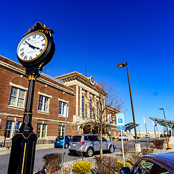 Lancaster, PA / USA - March 7, 2020: The Amtrak Train Station and a former Pennsylvania Railroad station in Lancaster County, Pennsylvania. It is the second busiest station in the state.