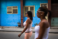 HAVANA, CUBA - CIRCA MAY 2016:  Women walking in the streets of Old Havana, Cuba.