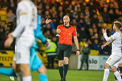 Ref Alan Newlands points for Livingston's second penalty. Livingston 3 v 1 Raith Rovers, William Hill Scottish Cup played 18/1/2020 at the Livingston home ground, Tony Macaroni Arena.