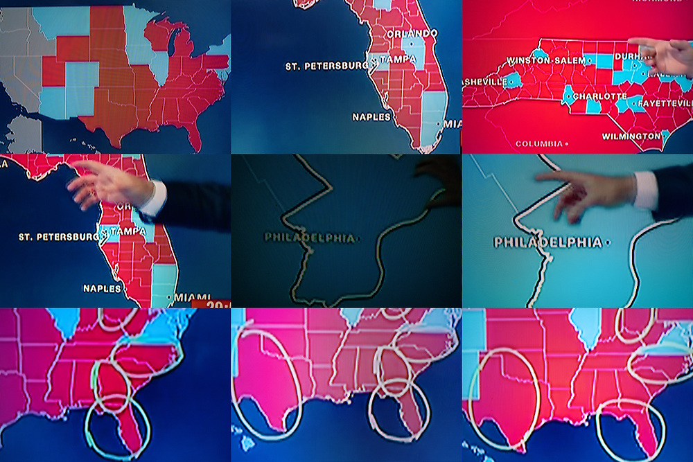 BELGIUM, Brussels. 4/11/2020: Maps of the USA during the presidential elections as seen on television.