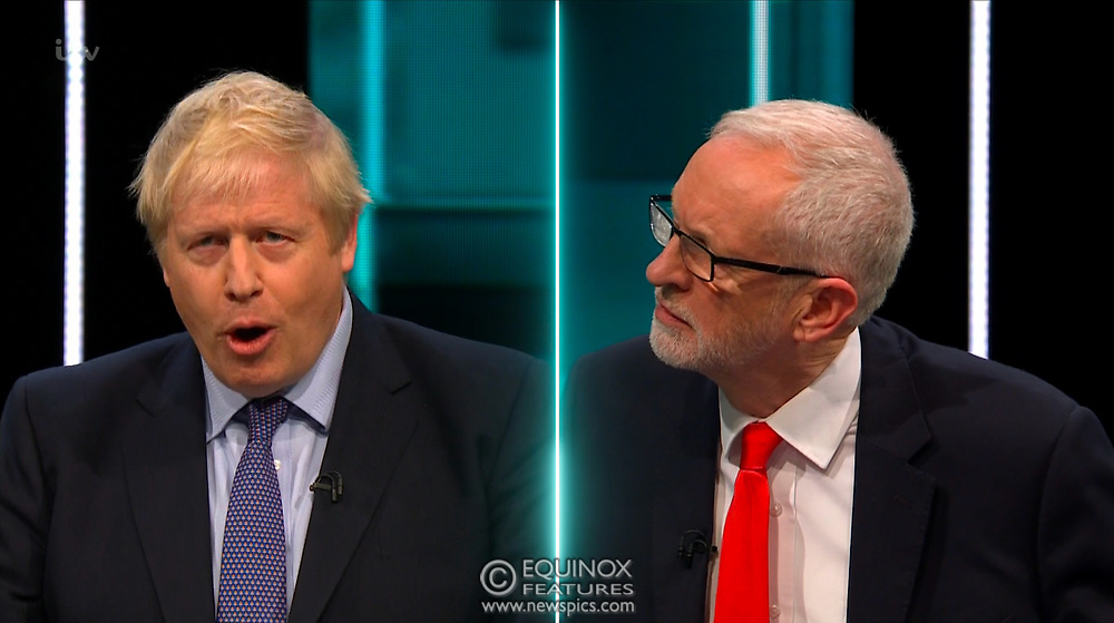 Broadcast TV, United Kingdom - 19 November 2019<br /> Labour leader Jeremy Corbyn and Prime Minister Boris Johnson debate live on ITV tonight as part of the 2019 general election campaign.<br /> (supplied by: Supplied by: EQUINOXFEATURES.COM)<br /> Picture Data:<br /> Contact: Equinox Features<br /> Date Taken: 20191119<br /> Time Taken: 212941<br /> www.newspics.com