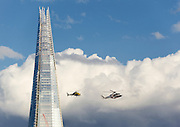 The Shard photographed on the 9th of June 2012 while 2 helicopters which were filming while flying up and down the Thames. The same Helicopter appeared in the 'Happy and Glorious' James Bond sequence at the opening Ceremony of the the 2012 Olympic Games.