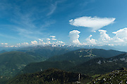 View of the Pyrenees from Mount Cagire, Midi-Pyrenees, France.