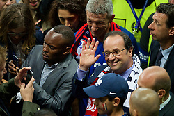 PARIS, FRANCE - Sunday, July 3, 2016: France François Hollande waves goodbye as he leaves the stadium after watching the national team beat Iceland 5-2 during the UEFA Euro 2016 Championship Semi-Final match at the Stade de France. (Pic by Paul Greenwood/Propaganda)