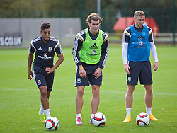 NEWPORT, WALES - Wednesday, October 8, 2014: Wales' Neil Taylor, Gareth Bale and Simon Church training at Dragon Park National Football Development Centre ahead of the UEFA Euro 2016 qualifying match against Bosnia and Herzegovina. (Pic by David Rawcliffe/Propaganda)