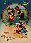 Children paddling and playing on the sands. English seaside greetings card c1910. Chromolithograph.