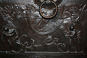 Detail from Bronze doors with scenes from the Old and New Testament in relief. Made at the order of St. Bernward, and set up by him in 1015 at St. Michael's Church, Hildesheim. They were since taken to the cathedral by his successor. This panel shows the Sacrifice of Abel and Cain.