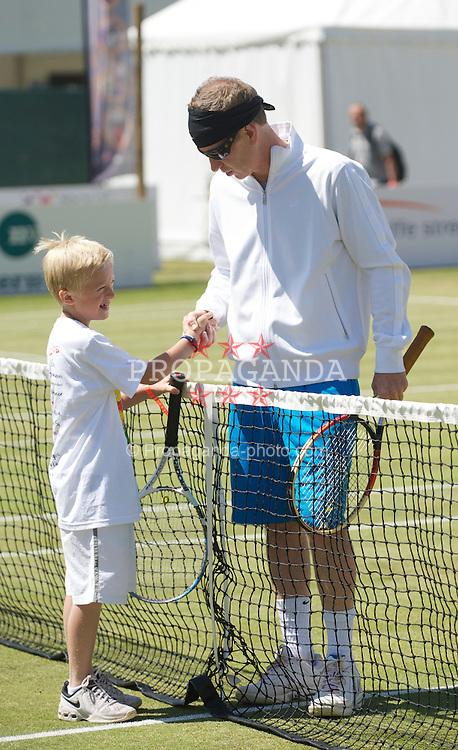 LIVERPOOL, ENGLAND - Sunday, June 20, 2010: John McEnroe and Felix Borg on day five of the Liverpool International Tennis Tournament at Calderstones Park. (Pic by David Rawcliffe/Propaganda)