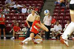 11 September 2007:  Kasey Mollerus crouches to dig the ball. Ohio State Buckeyes bested the Illinois State Redbirds 3 games to 1 at Redbird Arena on the campus of Illinois State University in Normal Illinois.