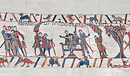 Bayeux Tapestry scene 9:  Guy de Ponthieu, on throne, discussed his with Harold his ransom demands. BYX9 .<br /> <br /> If you prefer you can also buy from our ALAMY PHOTO LIBRARY  Collection visit : https://www.alamy.com/portfolio/paul-williams-funkystock/bayeux-tapestry-medieval-art.html  if you know the scene number you want enter BXY followed bt the scene no into the SEARCH WITHIN GALLERY box  i.e BYX 22 for scene 22)<br /> <br />  Visit our MEDIEVAL ART PHOTO COLLECTIONS for more   photos  to download or buy as prints https://funkystock.photoshelter.com/gallery-collection/Medieval-Middle-Ages-Art-Artefacts-Antiquities-Pictures-Images-of/C0000YpKXiAHnG2k