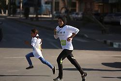 November 10, 2017 - Gaza, gaza strip, Palestine - Palestinian youths participate in a ''national unity marathon'' organised by the Palestine Athletic Federation to support national reconciliation, in Gaza City on November 10, 2017. (Credit Image: © Majdi Fathi/NurPhoto via ZUMA Press)