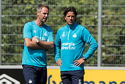 (L-R) assistent trainer Andre Ooijer of PSV, head of the youth department Ernest Faber of PSV during a trainings session of PSV Eindhoven at the Herdgang on June 27, 2018 in Eindhoven, The Netherlands