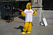 Mirror newspaper chicken in Westminster as inside Parliament the Tory leadership race continues on 17th June 2019 in London, England, United Kingdom.