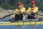 Sydney; AUSTRALIA; ROM W2X pull away from the start pontoon [left COCHELEA Veronica and LIPA Elisabeta] at the 2000 Olympic Regatta; Penrith Lakes. [Photo Peter Spurrier/Intersport Images] 2000 Olympic Regatta Sydney International Regatta Centre (SIRC) 2000 Olympic Rowing Regatta00085138.tif
