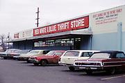 CS02975. Red White & Blue thrift store, 3038 NE Union @ Morris Feb. 6, 1974 (now Garlington Center)