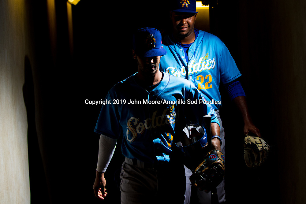 Amarillo Sod Poodles infielder Ivan Castillo (2) and Amarillo Sod Poodles pitcher Dauris Valdez (22) before the game against the Tulsa Drillers during the Texas League Championship on Saturday, Sept. 14, 2019, at OneOK Field in Tulsa, Oklahoma. [Photo by John Moore/Amarillo Sod Poodles]