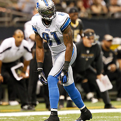 December 4, 2011; New Orleans, LA, USA; Detroit Lions wide receiver Calvin Johnson (81) against the Detroit Lions during a game at the Mercedes-Benz Superdome. The Saints defeated the Lions 31-17. Mandatory Credit: Derick E. Hingle-US PRESSWIRE