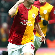 Galatasaray's Engin Baytar celebrate his goal during their Turkish Super League soccer match Galatasaray between Kardemir Karabukspor at the Turk Telekom Arena at Seyrantepe in Istanbul Turkey on Saturday 14 January 2012. Photo by TURKPIX