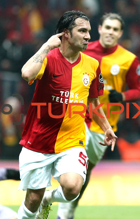 Galatasaray's Engin Baytar celebrate his goal during their Turkish Super League soccer match Galatasaray between Kardemir Karabukspor at the Turk Telekom Arena at Seyrantepe in Istanbul Turkey on Saturday 14 January 2012. Photo by TURKPIX