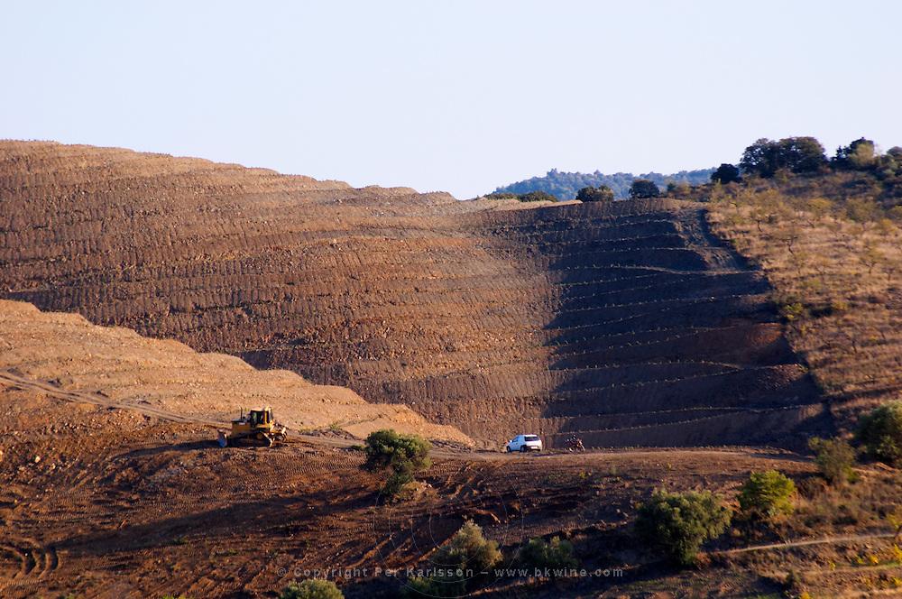 Terraced vineyard. Hillside bulldozered and shaped into terraces. Priorato, Catalonia, Spain