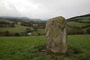 Standing stone near Machynlleth in Wales, United Kingdom.