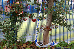 © Licensed to London News Pictures. 14/10/2019. London, UK. Leftover of a police tape at a nearby playground opposite Herbert Road in Tottenham, North London where a 20 year old man was stabbed and is fighting for his life in hospital. Police were called to Herbert Road in north London at 10.41pm on Sunday 13 October following reports of a stabbing. Photo credit: Dinendra Haria/LNP