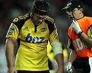 Andrew Hore injured<br />Super 14 rugby union match, Waratahs vs Hurricanes, Sydney, Australia. <br />Saturday 14 May 2010. Photo: Paul Seiser/PHOTOSPORT