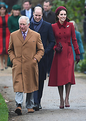 The Prince of Wales, the Duke of Cambridge and the Duchess of Cambridge arriving to attend the Christmas Day morning church service at St Mary Magdalene Church in Sandringham, Norfolk.