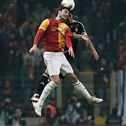 Galatasaray's Albert Riera Ortega (L) Action picture during their Turkish superleague soccer derby match Galatasaray between Besiktas at the TT Arena at Seyrantepe in Istanbul Turkey on Sunday, 26 February 2012. Photo by TURKPIX