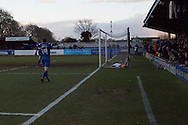 Super-Sub David Connolly scores the injury time winner during the Sky Bet League 2 match between AFC Wimbledon and Luton Town at the Cherry Red Records Stadium, Kingston, England on 21 February 2015. Photo by Stuart Butcher.