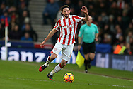 Joe Allen of Stoke city in action. Premier league match, Stoke City v Manchester Utd at the Bet365 Stadium in Stoke on Trent, Staffs on Saturday 21st January 2017.<br /> pic by Andrew Orchard, Andrew Orchard sports photography.