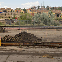 New construction is staked out at the site of a new skate park near the Gallup Cultural Center Wednesday.