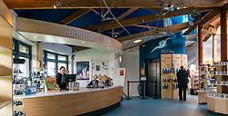 Pictured: Scottish Seabird Centre reopens. North Berwick, East Lothian, 04 April 2019. North Berwick, East Lothian, Scotland, United Kingdom, 4th April 2019. Scottish Seabird Centre reopens after 3 months of renovation and refurbishment. The lenticular wall display at the entrance makes a striking focal point. Terns flying across the ceiling lead visitors to the Discovery Centre.  The cafe area has more seating next to windows and the outside decking area has been renewed. The centre officially opens tomorrow. <br /> Sally Anderson | EdinburghElitemedia.co.uk