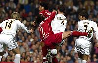 4/2/2004 Madrid, Spain.<br />Copa Del Rey (Spanish Cup) Semifinals. 1 Leg.<br />R.Madrid 2 - Sevilla 0<br />R.Madrid's Ivan Helguera in duel with Sevilla's Pablo Alfaro and Daniel Alves at Santiago Bernabeu's Stadium.