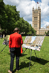 London, UK. 6 June, 2019. Bronze and limestone for the UK Holocaust Memorial and Learning Centre in Victoria Tower Gardens beside Parliament are displayed for selection by Lord Pickles and Ed Balls, co-chairs of the UK Holocaust Memorial Fund. The Prime Minister recently led cross-party support for the new memorial.