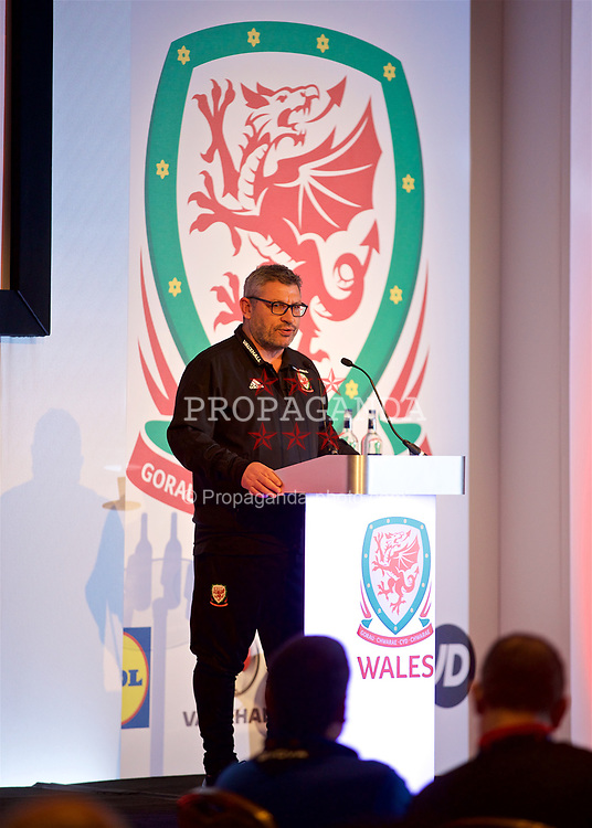 NEWPORT, WALES - Friday, May 18, 2018: Wales assistant coach Osian Roberts during day one of the Football Association of Wales' National Coaches Conference 2018 at the Celtic Manor Resort. (Pic by David Rawcliffe/Propaganda)