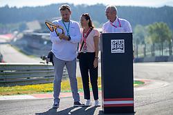 30.06.2019, Red Bull Ring, Spielberg, AUT, FIA, Formel 1, Grosser Preis von Österreich, In Erinnerung an Niki Lauda wurde in Spielberg vor den Rennen die erste Kurve des Red Bull Rings in Niki-Lauda-Kurve umbenannt worden, im Bild v.l.: Lukas Lauda, Birgit Laud, Dr. Helmut Marko (AUT, Red Bull Racing) // v.l.: Lukas Lauda Birgit Laud Red Bull Racing Motorsport Consultant Dr. Helmut Marko (AUT) during in memory of Niki Lauda, the first turn of the Red Bull Ring in Niki-Lauda-Kurve was renamed Spielberg before the races for the Austrian FIA Formula One Grand Prix at the Red Bull Ring in Spielberg, Austria on 2019/06/30. EXPA Pictures © 2019, PhotoCredit: EXPA/ Dominik Angerer