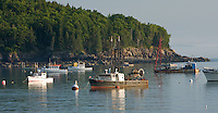 Early moring light on a fleet of lobster boats in Frenchman Bay, Bar Harbor Maine.