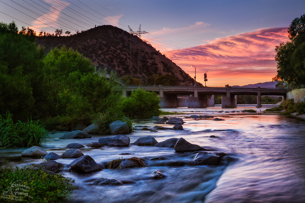 Dusk settle over the Los Angeles River at the Glendale Narrows, Elysian Valley, Los Angeles, California, USA