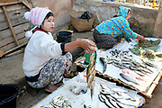 Fresh fish for sale at an early morning market in Loikaw on 17th January 2016 in Kayah state, Myanmar.  A large variety of local products are available for sale in fresh markets all over Myanmar, all being sold on small individual stalls