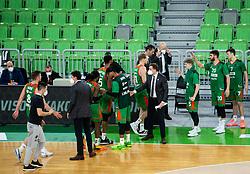 Players of Cedevita Olimpija during basketball match between KK Cedevita Olimpija (SLO) and Buducnost Voli (MNE) in Top 16 Round 2 of 7DAYS Eurocup 2020/21, on January 19, 2021 in Arena Stozice, Ljubljana, Slovenia.  Photo by Vid Ponikvar / Sportida