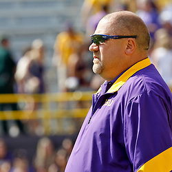 October 22, 2011; Baton Rouge, LA, USA; LSU Tigers offensive coordinator Greg Studrawa on the field prior to kickoff of a game against the Auburn Tigers at Tiger Stadium.  Mandatory Credit: Derick E. Hingle-US PRESSWIRE / © Derick E. Hingle 2011