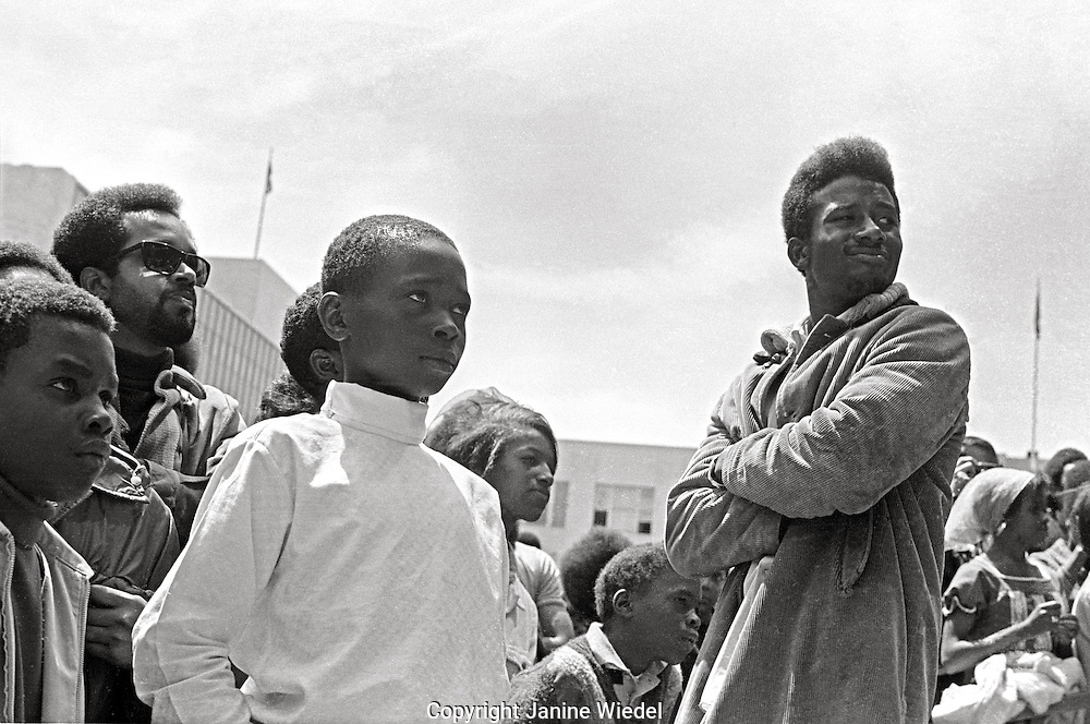 Black Panther supporters Rally to Free Huey Newton at Federal Building in San Francisco California in May 1969