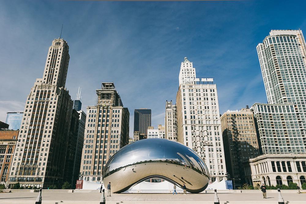 "Millinium Park's Cloud Gate Sculpute, also knows as ""The Bean""  in Chicago Illinios."