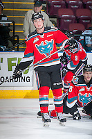 KELOWNA, CANADA - OCTOBER 14: Kole Lind #16 of Kelowna Rockets warms up against the Saskatoon Blades on October 14, 2016 at Prospera Place in Kelowna, British Columbia, Canada.  (Photo by Marissa Baecker/Shoot the Breeze)  *** Local Caption *** Kole Lind;