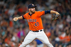April 13, 2018 - Houston, TX, U.S. - HOUSTON, TX - APRIL 13: Houston Astros relief pitcher Chris Devenski (47) delivers the pitch in the ninth inning during an MLB game between the Houston Astros and the Texas Rangers and April 13, 2018 at Minute Maid Park in Houston, TX.  (Photo by Juan DeLeon/Icon Sportswire) (Credit Image: © Juan Deleon/Icon SMI via ZUMA Press)